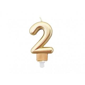 """1 stk. Fødselsdagslys """"2"""" i guld metalic"""
