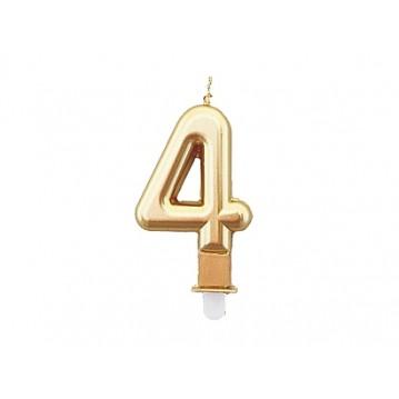 """1 stk. Fødselsdagslys """"4"""" i guld metalic"""