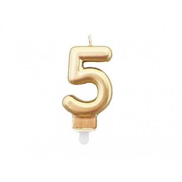 """1 stk. Fødselsdagslys """"5"""" i guld metalic"""