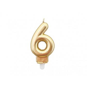 """1 stk. Fødselsdagslys """"6"""" i guld metalic"""