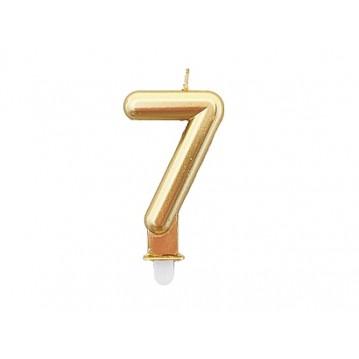 """1 stk. Fødselsdagslys """"7"""" i guld metalic"""