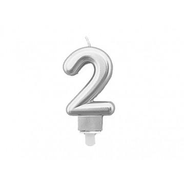 "1 stk. Fødselsdagslys ""2"" i sølv metalic"