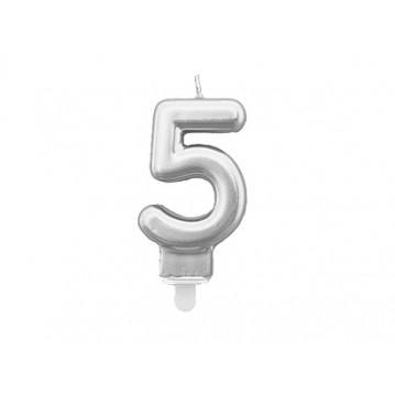 "1 stk. Fødselsdagslys ""5"" i sølv metalic"