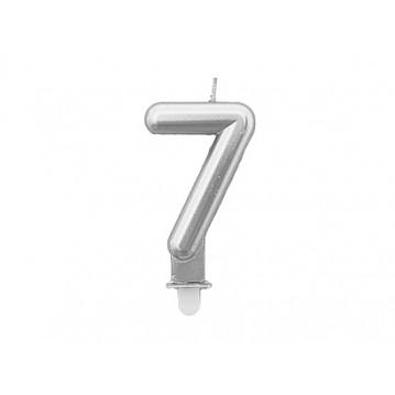 "1 stk. Fødselsdagslys ""7"" i sølv metalic"