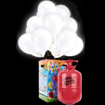 10 stk Hvid led lys balloner med Helium