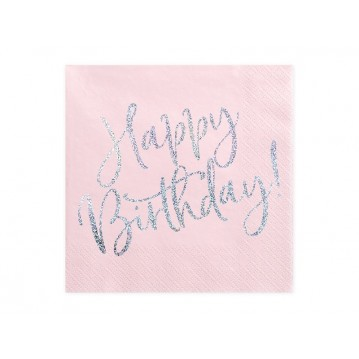 """Napkins Happy Birthday, light powder pink, 33x33cm (1 pkt / 20 pc.)"""