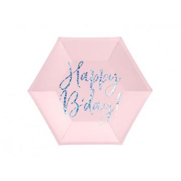 """Plates Happy B'day!, light powder pink, 20cm (1 pkt / 6 pc.)"""