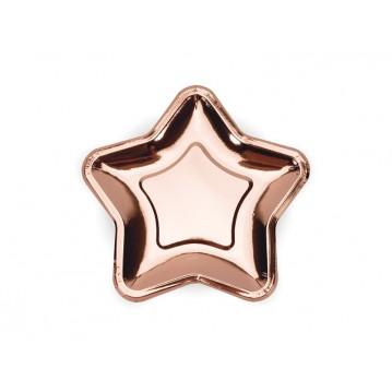 6 stk Stjerne engangstallerken i rose guld metallic 18cm