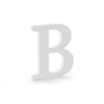 Træbogstav B - hvid 20 cm høj