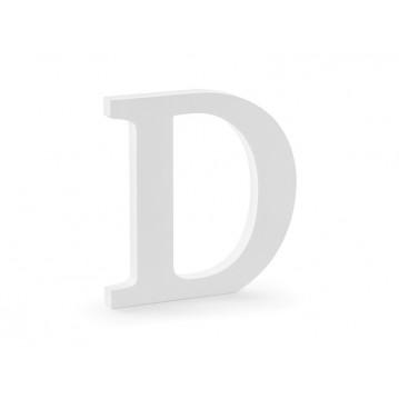 Træbogstav D - hvid 20 cm høj
