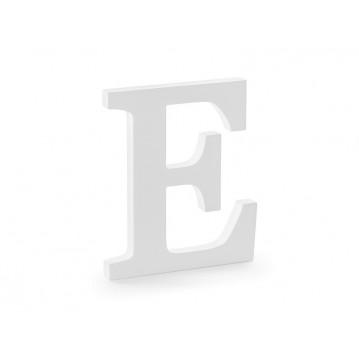 Træbogstav E - hvid 20 cm høj