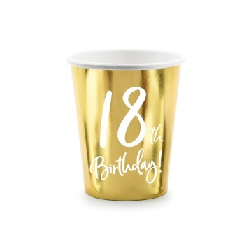 """Paper cups 18th Birthday, gold, 220ml (1 pkt / 6 pc.)"""