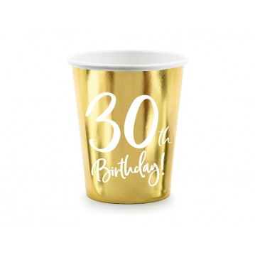 """Paper cups 30th Birthday, gold, 220ml (1 pkt / 6 pc.)"""