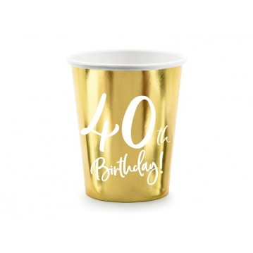 """Paper cups 40th Birthday, gold, 220ml (1 pkt / 6 pc.)"""