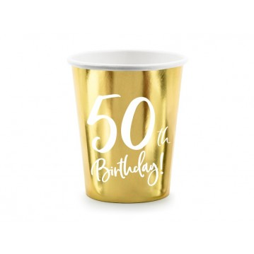 """Paper cups 50th Birthday, gold, 220ml (1 pkt / 6 pc.)"""