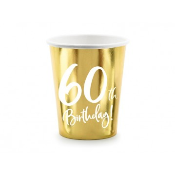 """Paper cups 60th Birthday, gold, 220ml (1 pkt / 6 pc.)"""