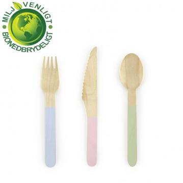 6 sæt træbestik - Pastel love