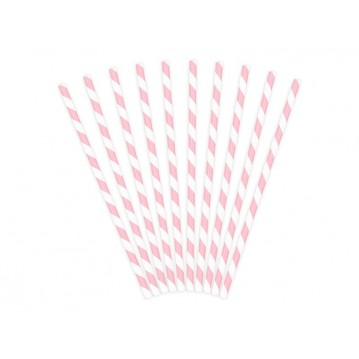 Papirsugerør 10 stk Twiste lyserød - hvid