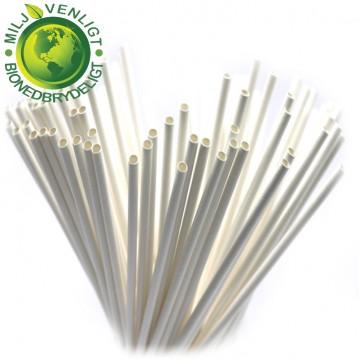 100 stk Papirsugerør miljøvenligt - hvid 6mm