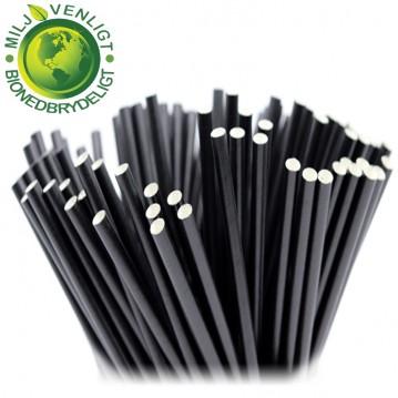 100 stk Papirsugerør miljøvenligt - sort 8mm