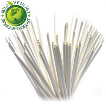 100 stk Papirsugerør miljøvenligt - hvid 8mm