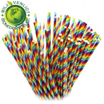 10 stk Papirsugerør miljøvenligt - regnbue 6mm