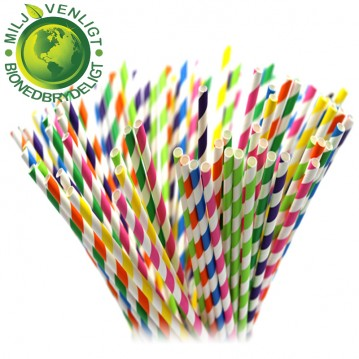 10 stk Papirsugerør miljøvenligt - mix pastel 6mm