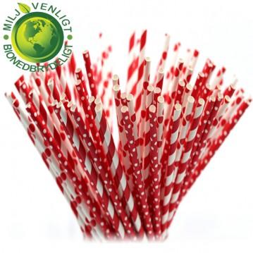 10 stk Papirsugerør miljøvenligt - Rød & hvide 6mm