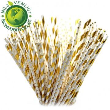 10 stk Papirsugerør miljøvenligt - Gul & hvide 6mm