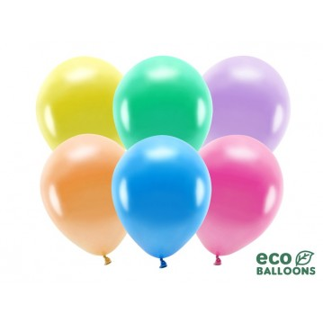 "100 stk. Økologiske metallic mix balloner str. 10"""
