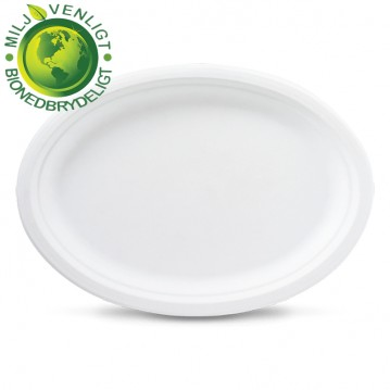 50 stk Ovale miljøtallerken 26cm økologiske