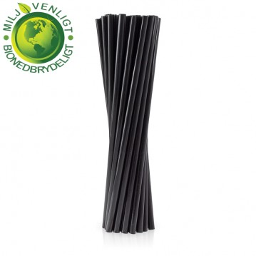 250 stk Bio og økologisk sugerør 8x240mm - sort