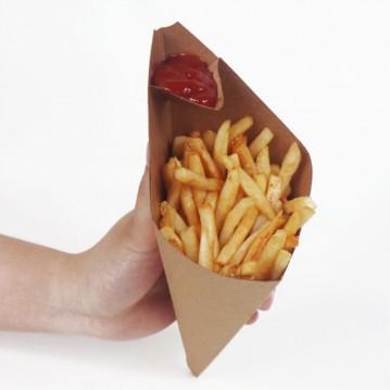 25 stk. Pommes Frites holder med plads til ketchup 260x155mm