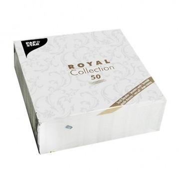 50 stk Hvid Royal Damascato middagsservietter