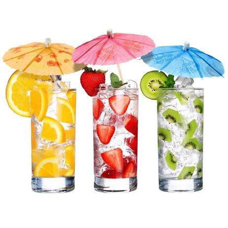 144 stk Drinks paraplyer mix farver