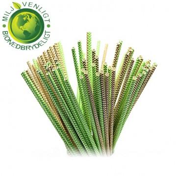 10 stk Papirsugerør miljøvenligt - Grøn, brun & hvide 6mm