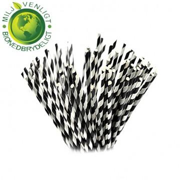 10 stk Papirsugerør miljøvenligt - Grå, sort & hvide 6mm