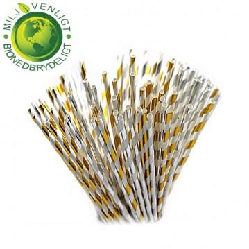 10 stk Papirsugerør miljøvenligt - Guld, sølv & hvide 6mm