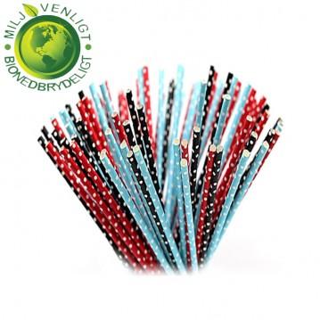 10 stk Papirsugerør miljøvenligt - Rød, sort, blå & hvide 6mm