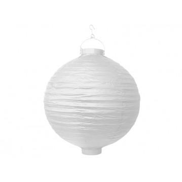 Rispapirlampe med LED lys Hvid 30 cm