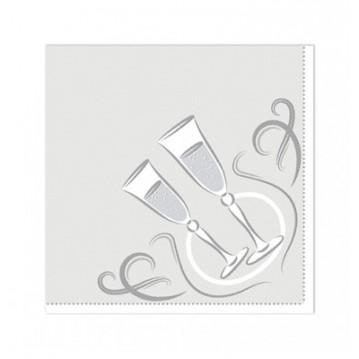 20 stk. Festlige øjeblikke - sølv frokostservietter