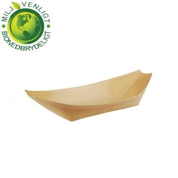 50 stk. Engangsskål båd træ 16,5 x 8,5 cm
