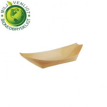50 stk. Engangsskål båd træ 11 x 6,5 cm