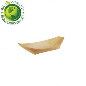 50 stk. Engangsskål båd træ 8,5 x 5,5 cm