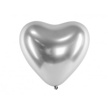 """Glossy Balloons 30cm, Hearts, silver (1 pkt / 50 pc.)"""