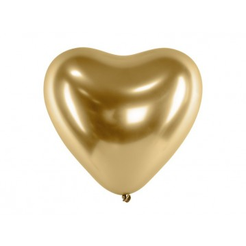"""Glossy Balloons 30cm, Hearts, gold (1 pkt / 50 pc.)"""