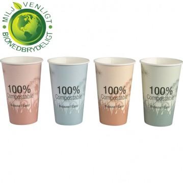 50 stk Bio komposterbar Kaffebæger 480ml