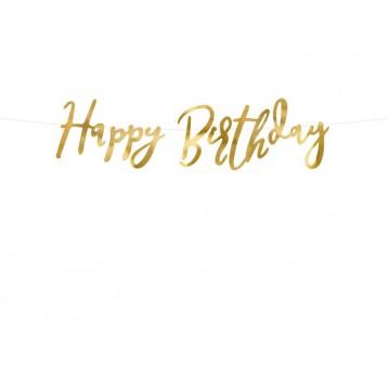 Happy Birthday banner - 62 cm - guld