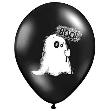 50 Stk Sort balloner med spøgelser