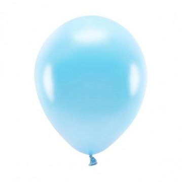"""100 stk. Økologiske metallic lyseblå balloner str. 10"""""""
